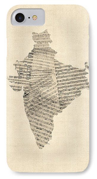 India Map, Old Sheet Music Map Of India IPhone Case by Michael Tompsett