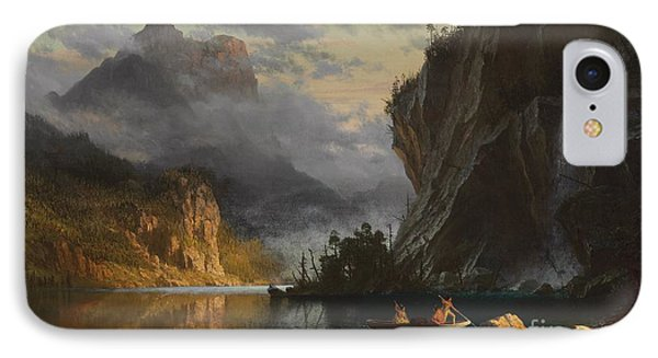 Indians Spear Fishing IPhone Case by Albert Bierstadt