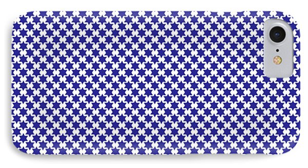 Indigo And White Star Of David- Art By Linda Woods IPhone Case by Linda Woods