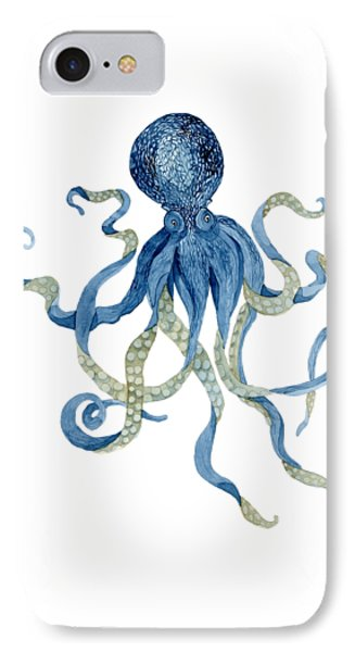 Indigo Ocean Blue Octopus  IPhone Case by Audrey Jeanne Roberts