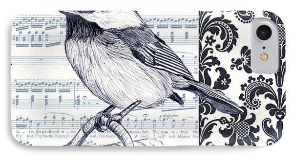 Indigo Vintage Songbird 2 IPhone Case by Debbie DeWitt