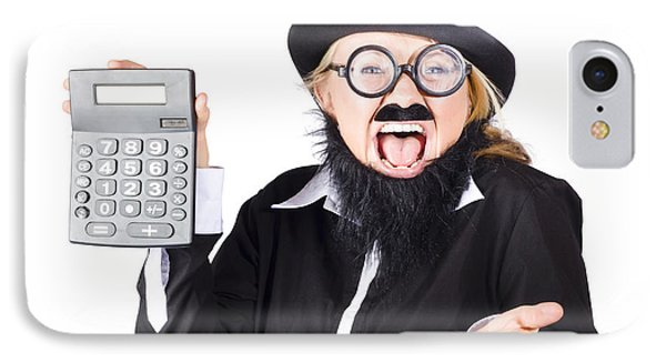 Insane Woman Shouting And Holding Calculator IPhone Case by Jorgo Photography - Wall Art Gallery