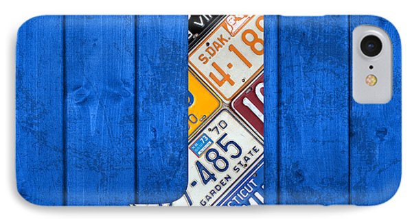 J License Plate Letter Art Blue Background IPhone Case by Design Turnpike