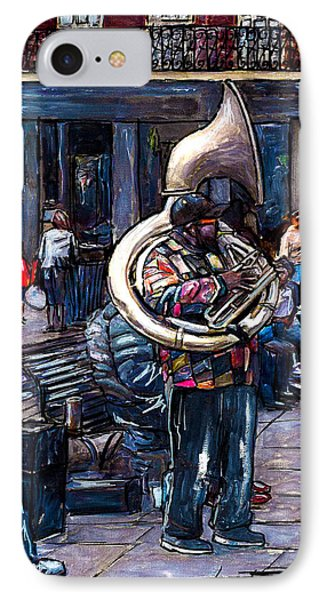 Jackson Square Bass Horn Player IPhone Case by John Boles