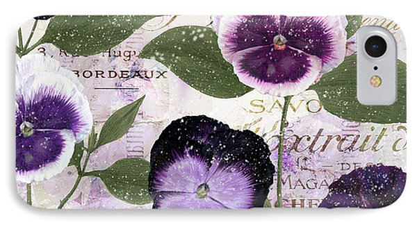 January Purple Pansies IPhone Case by Mindy Sommers
