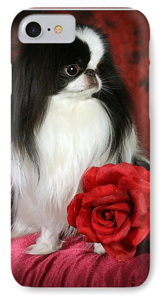 Japanese Chin And Rose Phone Case by Kathleen Sepulveda