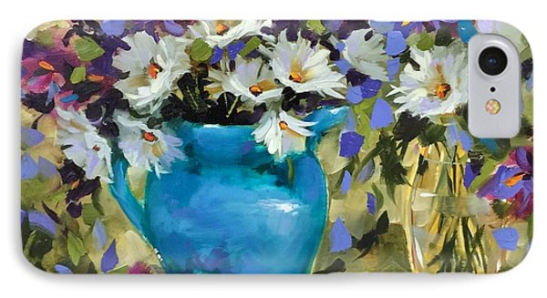Japanese Iris And Daisies IPhone Case by Nancy Medina