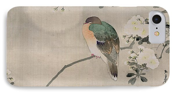 Japanese Silk Painting Of A Wood Pigeon IPhone Case by Japanese School