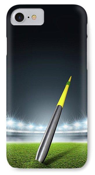 Javelin In Generic Floodlit Stadium IPhone Case by Allan Swart