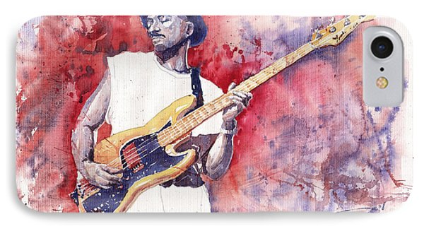Jazz Guitarist Marcus Miller Red Phone Case by Yuriy  Shevchuk