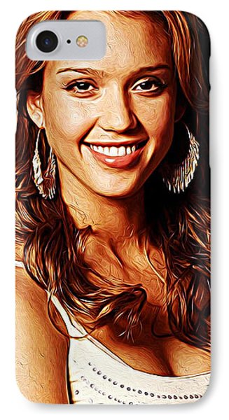 Jessica Alba IPhone 7 Case by Iguanna Espinosa