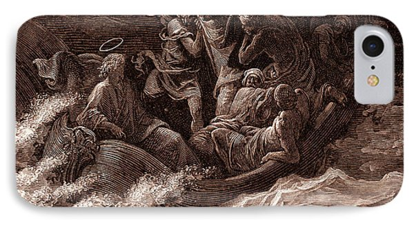 Jesus Stilling The Tempest IPhone Case by Gustave Dore
