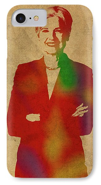 Jill Stein Green Party Political Figure Watercolor Portrait IPhone Case by Design Turnpike