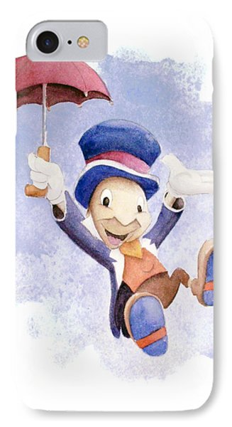 Jiminy Cricket With Umbrella IPhone 7 Case by Andrew Fling