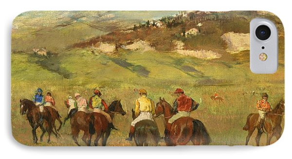 Jockeys On Horseback Before Distant Hills IPhone Case by Edgar Degas