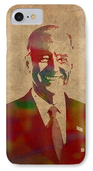 Joe Biden Watercolor Portrait IPhone 7 Case by Design Turnpike