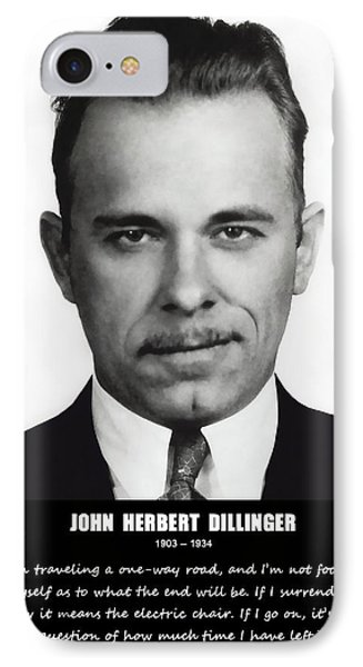 John Dillinger -- Public Enemy No. 1 IPhone Case by Daniel Hagerman
