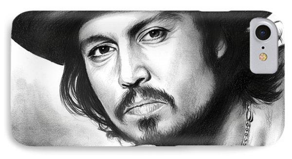 Johnny Depp IPhone 7 Case by Greg Joens
