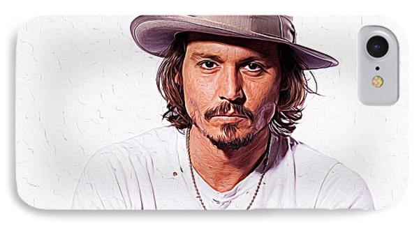 Johnny Depp IPhone 7 Case by Iguanna Espinosa
