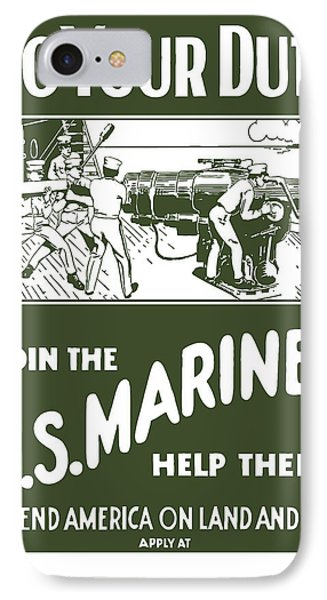 Join The Us Marines Phone Case by War Is Hell Store