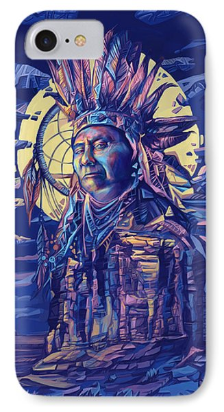 Joseph Nez Perce Decorative Portrait 2 IPhone Case by Bekim Art