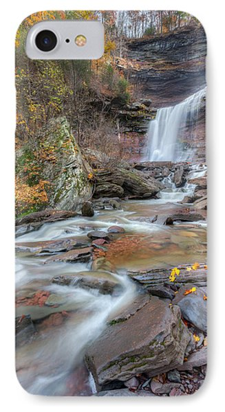 Kaaterskill Falls Autumn Portrait IPhone Case by Bill Wakeley