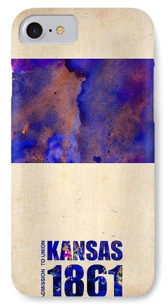 Kansas Watercolor Map IPhone Case by Naxart Studio