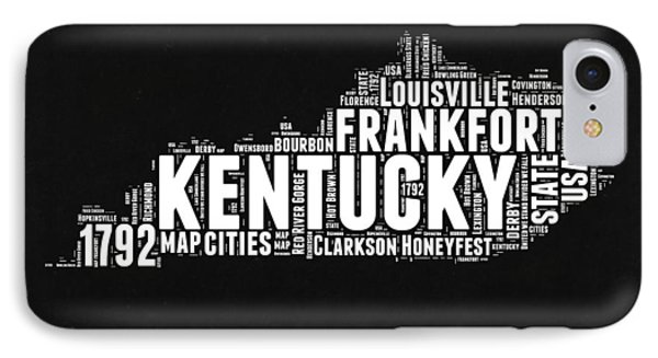 Kentucky Black And White Word Cloud Map IPhone Case by Naxart Studio