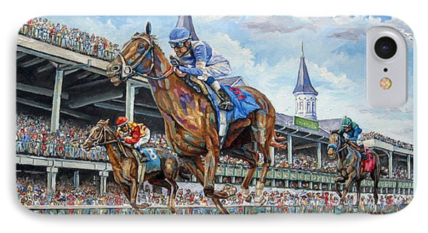 Kentucky Derby - Horse Racing Art IPhone Case by Mike Rabe