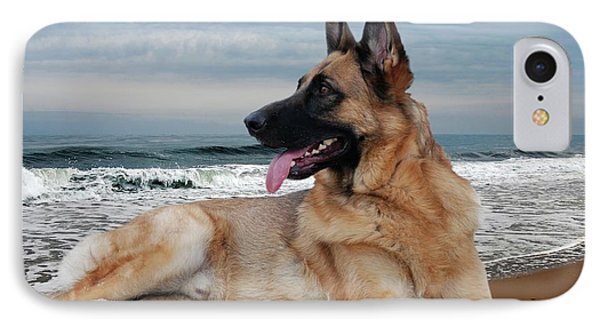 King Of The Beach - German Shepherd Dog Phone Case by Angie Tirado