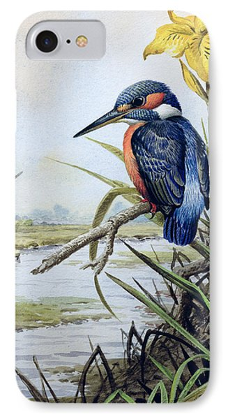 Kingfisher With Flag Iris And Windmill IPhone Case by Carl Donner