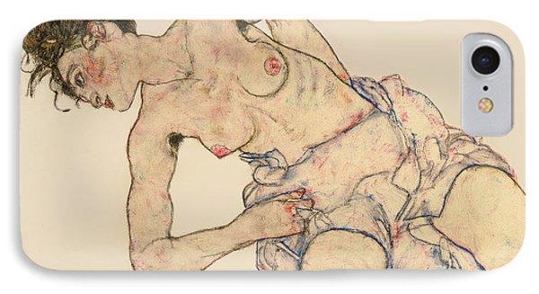 Kneider Weiblicher Halbakt IPhone Case by Egon Schiele
