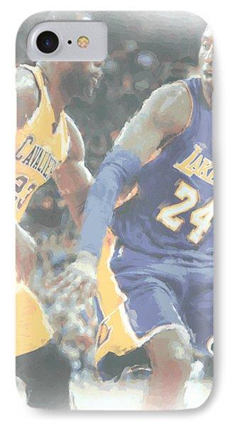 Kobe Bryant Lebron James 2 IPhone 7 Case by Joe Hamilton
