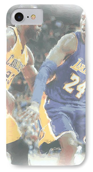 Kobe Bryant Lebron James 2 IPhone Case by Joe Hamilton