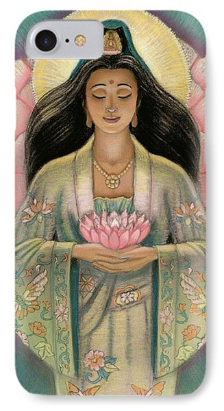 Kuan Yin Pink Lotus Heart IPhone Case by Sue Halstenberg