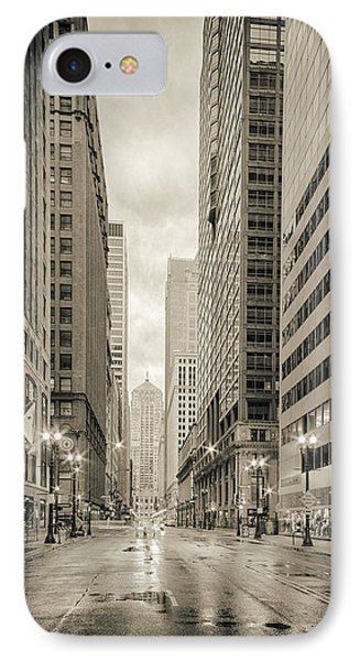 Lasalle Street Canyon With Chicago Board Of Trade Building At The South Side - Chicago Illinois IPhone 7 Case by Silvio Ligutti