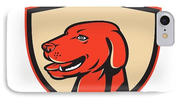 Labrador Golden Retriever Dog Head Shield Retro IPhone Case by Aloysius Patrimonio