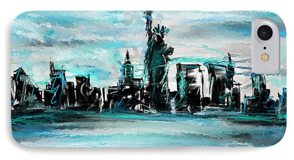 Lady Of Liberty Turquoise IPhone Case by Lourry Legarde