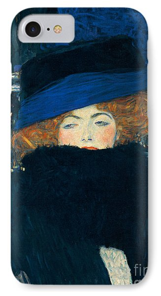 Lady With A Hat And A Feather Boa IPhone Case by Gustav Klimt