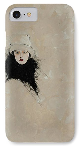 Lady With Black Fur IPhone Case by Susan Adams