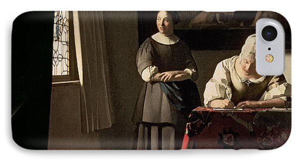 Woman writing a letter with her maid vermeer equipment
