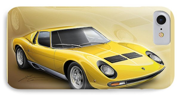 Lamborghini Miura Sv 1966-1973 IPhone Case by Etienne Carignan