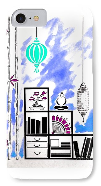 Lamps, Books, Bamboo -- Blue IPhone Case by Jayne Somogy
