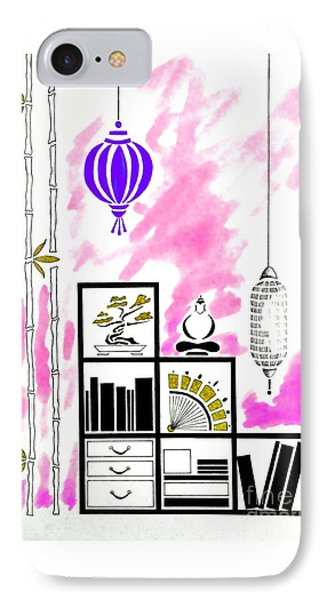 Lamps, Books, Bamboo -- Fuchsia IPhone Case by Jayne Somogy