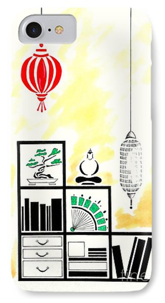 Lamps, Books, Bamboo -- The Original -- Asian-style Interior Scene IPhone Case by Jayne Somogy