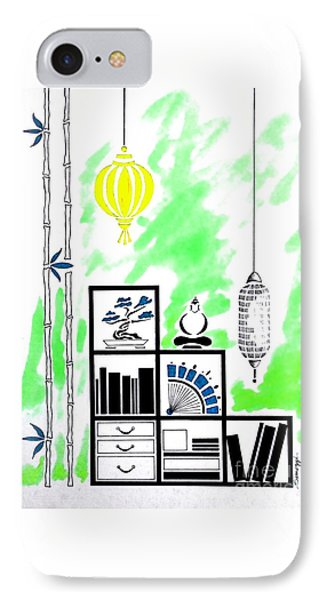 Lamps, Books, Bamboo -- Lime Green IPhone Case by Jayne Somogy