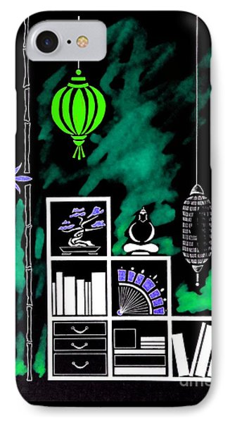 Lamps, Books, Bamboo -- Negative 2 IPhone Case by Jayne Somogy