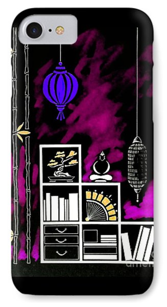 Lamps, Books, Bamboo -- Negative 3 IPhone Case by Jayne Somogy