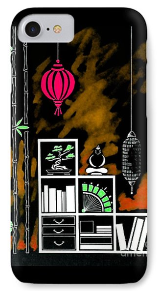 Lamps, Books, Bamboo -- Negative 4 IPhone Case by Jayne Somogy