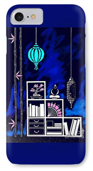 Lamps, Books, Bamboo -- Negative IPhone Case by Jayne Somogy